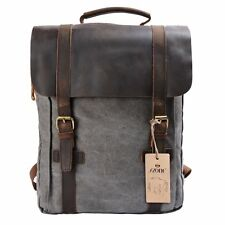 Vintage Backpack Canvas Genuine Leather Travel School Day Bag Grey Unisex New