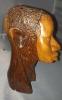 Vintage Hand Carved Wood  Sculpture African Art Head Statue Bust Huge Crack.