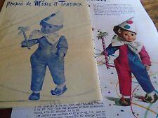 """T6 PATRON POUPEE JEAN MICHEL """" MODES ET TRAVAUX  COSTUME DE CLOWN    1971"""