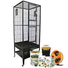 Madagascar Cage & Starter Package For Sugar Gliders - Cage, Wheel, Food, Dishes