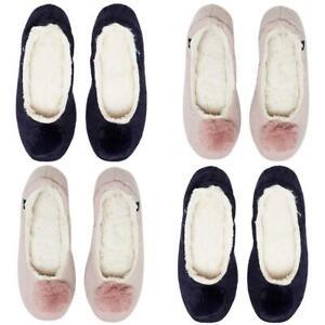 Joules Pombury Ballet Slipper Navy Soft Pink S M L Ladies Slippers