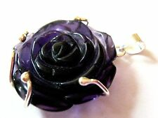 925 Sterling silver Dark Purple Carved Rose Flower Pendant 30mm Gothic Vamp New
