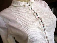 Medium True Vtg 70s Crispy White Pleated Embroidered Yoke Spanish Boho Top