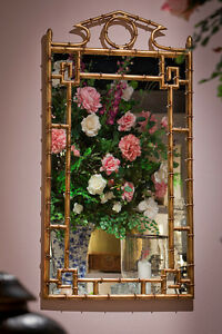 """MIRROR - """"FORBIDDEN CITY"""" STYLIZED BAMBOO MIRROR - ANTIQUE GOLD FINISH"""