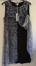 JOHN ROCHA New Black Grey & silver Overlay Dress Uk 18