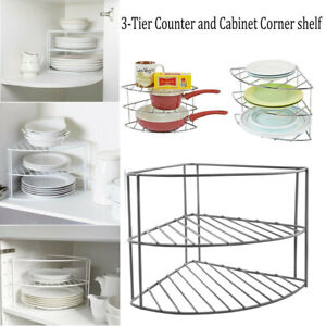 3-Tire Wire Corner Organiser Plate Stacker Kitchen Pantry Storage Shelf Rack UK