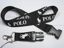 New Ralph RL Lauren Polo Black White Lanyard Detachable Keychain US SELLER