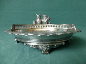 Simpson, Hall, Miller & Co. Silver Plated Calling Card Tray with Five Owls