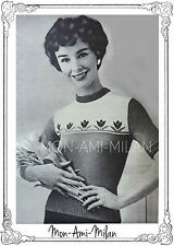 LADIES TULIP MOTIF SWEATER Vintage 50s Knitting Pattern Copy LONG & SHORT SLEEVE