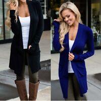 Sweater Long Casual Cardigan Jumper Coat Solid Autumn Women's Sleeve Jacket