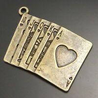 16PCS Vintage Style Bronze Tone Alloy Poker Shape Charm Pendants 27*20mm