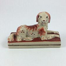 Antique Staffordshire porcelain recumbent dog Victorian Pottery