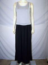 NY Collection Gray Grey Black Sleeveless Maxi Dress Womens Size Medium 8 10 NEW