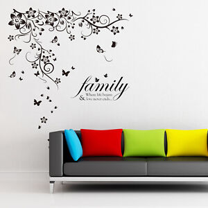 Walplus New Huge Butterfly Vine Family Quote Wall Sticker Decals Decorations