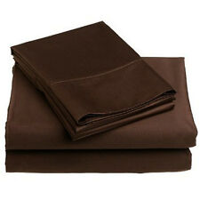 Hotel Grand 1000TC Egyptian Cotton Rich Sheet Set Queen Size in Solid Chocolate