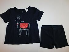 NWT Gap Baby Girl 2 Pc Set Blue Tumble Shorts & Llama T-Shirt 3Yr New Free Ship