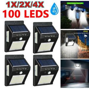 4pcs LED Solar Powered PIR Motion Lights Wall Security Sensor Garden Outdoor