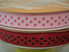 """10mm (3/8"""") PINK & RED POLKA DOT grosgrain ribbon 2x3 mtrs for crafts card"""