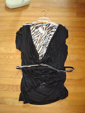 DOTS Brand Black/White Rayon Knit w/Sheer Lace Back & Belt Stretchy Top 3X NEW