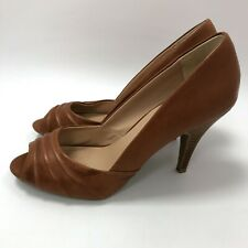 Dune High Heeled Shoes Womens Size 6 Brown Faux Leather Open Toe Formal 301582