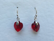 SMALL HEART DROP EARRINGS FACETED RED GLASS SILVER PLATED FITTINGS
