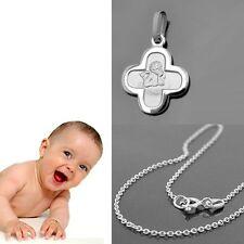 Kinder Baby Kreuz Anhänger mit Engel und Rundanker Kette 38 cm Echt Silber 925
