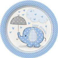 Blue Baby Boy Shower Party SWEET UMBRELLA ELEPHANT DESSERT CAKE PLATES