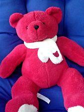 "SO SOFT Red Teddy Bear  with Scarf Plush Stuffed Animal 14"" Laser Paris France"