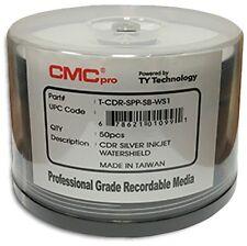 100-Pak CMC PRO =WATERSHIELD & GLOSSY= Silver Pearl Inkjet Hub 52X 80-Min CD-R's