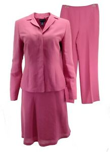 Ann Taylor Womens Pant Skirt Suit Petite 4P 6P 6 Mixed Sizes Linen Pink 3 Pc