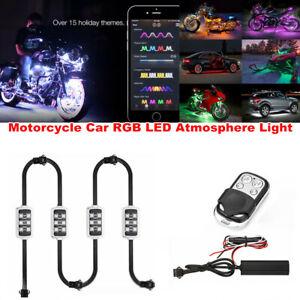 4PCS RGB LED Atmosphere Light Wireless Smart Brake Light Motorcycle Car Vehicle