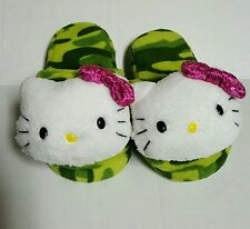 NEW Girls Hello Kitty Slippers Camo Plush Slip On Size 11-12 Sanrio Green Pink