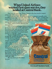 1977 Print Ad of Central Bank First Class Service United Airlines Cleveland OH