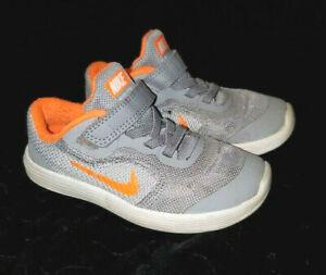 Little Boys Nike Shoes Size 9C Orange and Gray Strap Closure