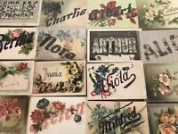 Lot of 18 Antique Large Letter First Names~Vintage Name Greetings~Postcards-a988