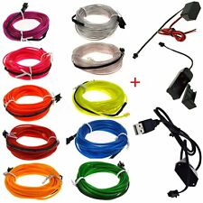 5M Flexible Car Neon LED Lights Glow EL Wire String Strip Rope Battery  L H R