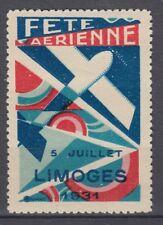 TIMBRE VIGNETTE FETE AERIENNE  5 JUILLET LIMOGES 1931