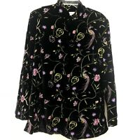 Draper's & Damon's Black Floral Embroidered Jacket Size XL