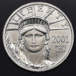 2001 Platinum $10 1/10 Oz Eagle Statue of Liberty Coin Uncirculated