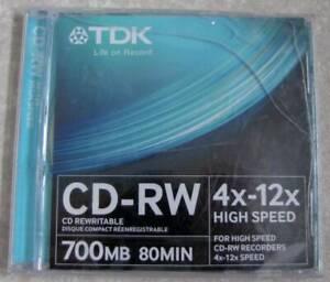 1 TDK CD-RW High Speed 4x-12x  700 MB 80 MIN .