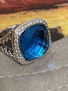 David Yurman SS Albion 14mm Blue Topaz & Diamond Ring. Size 6
