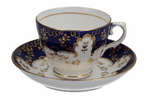 19th Century Cup & Saucer Hand Painted Blue & Gold