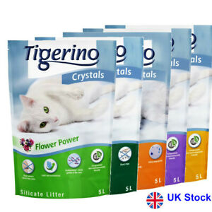 6 x 5L Tigerino Crystals Silicate Cat Litter Simple, Dust-Free. Eco-Friendly