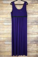 Unbranded Womens Dress Stretch Knit Maxi Scoop Neck Empire Waist Purple 14 16