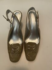 Talbots Black Patent Leather Slingback Shoes Heels Size 7aa