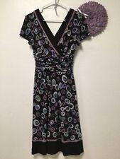 Ladies party dress size 6 purple black blue gray sexy Sandra Darren 164