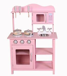Kids Wooden Play Kitchen in Pink Children's Role Play Pretend Set Toy Kitchen