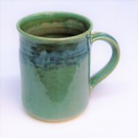 "Clouds Folsom Pottery Coffee MUG Tea CUP Studio Artist Signed 2017 Green Blue 4"""