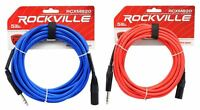 2 Rockville 20' Male REAN XLR to 1/4'' TRS Balanced Cable (Red and Blue)