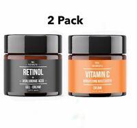 2 Pack Retinol & Hyaluronic Acid + Vitamin C Brightening Wrinkle GEL CREAM Serum